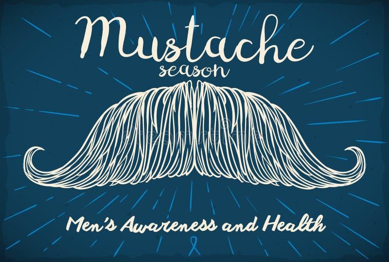Mustasch i hand dragen stil som främjar den vård- aktionen för man` s, vektorillustration royaltyfri illustrationer