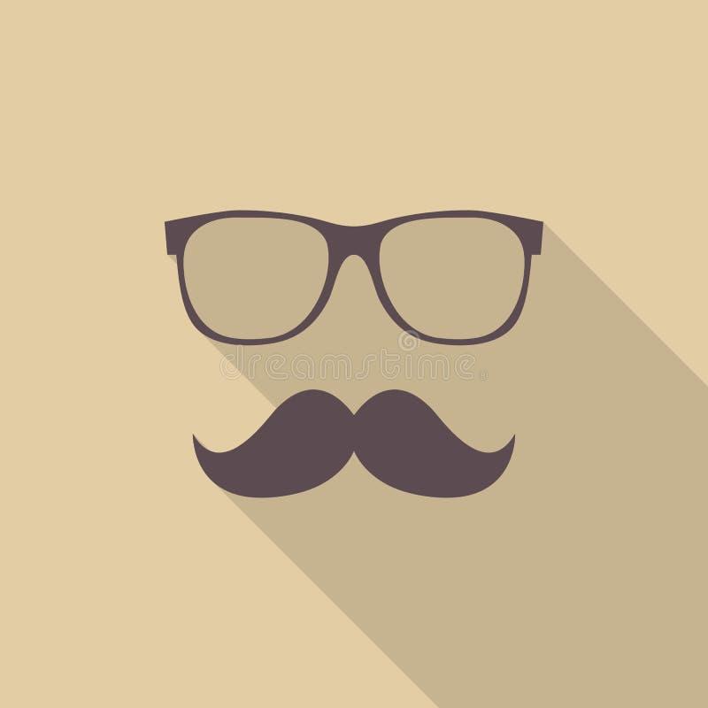 Mustasch och exponeringsglas vektor illustrationer
