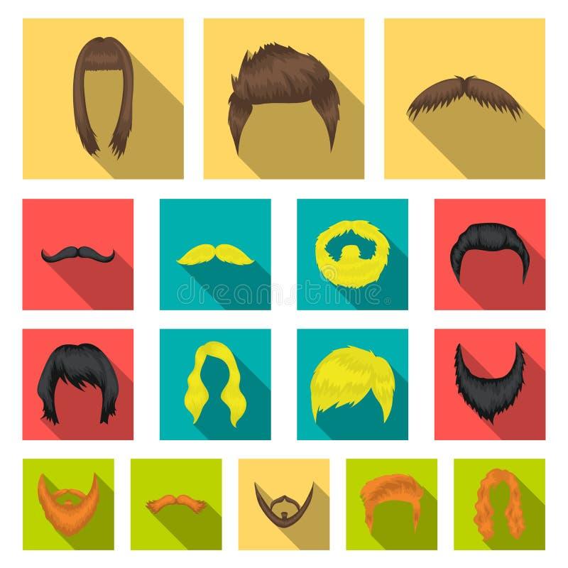 Mustaschen och skägget, frisyrer sänker symboler i uppsättningsamlingen för design Stilfull rengöringsduk för materiel för frisyr stock illustrationer