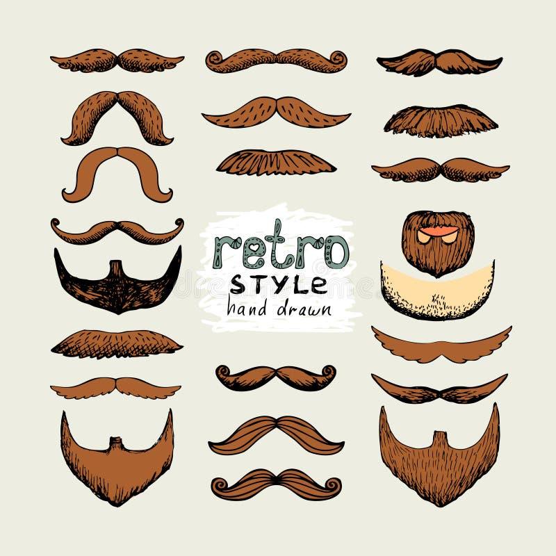 Mustascher och skägg royaltyfri illustrationer
