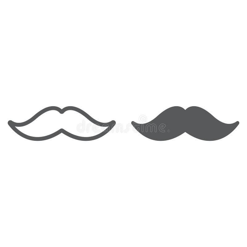 Mustaschlinje och skårasymbol, barberare och frisyr, mustaschtecken, vektordiagram, en linjär modell på ett vitt royaltyfri illustrationer
