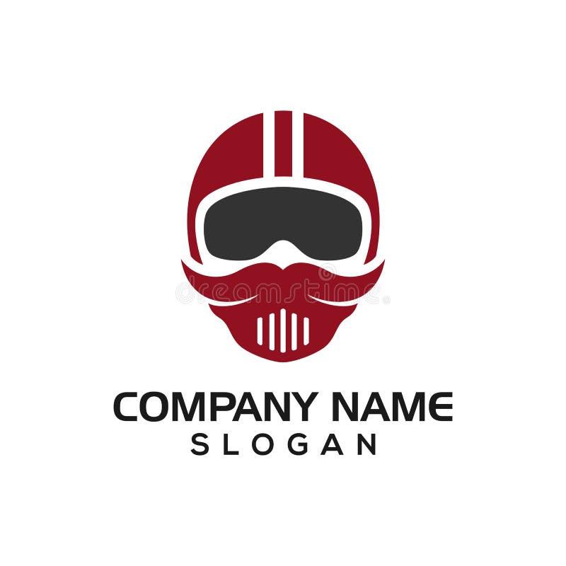 Mustaschryttare, begrepp för mustaschhjälmdesign för chaufför för logosymbolsmall, automatiska logoer, etc. stock illustrationer