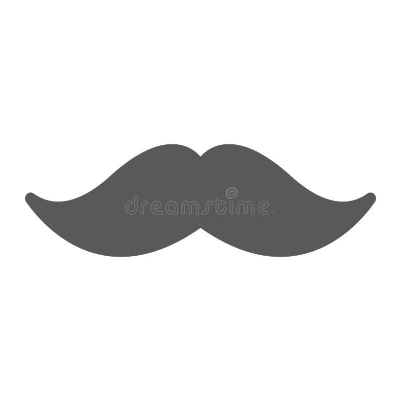Mustaschskårasymbol, barberare och frisyr, mustaschtecken, vektordiagram, en fast modell på en vit bakgrund stock illustrationer