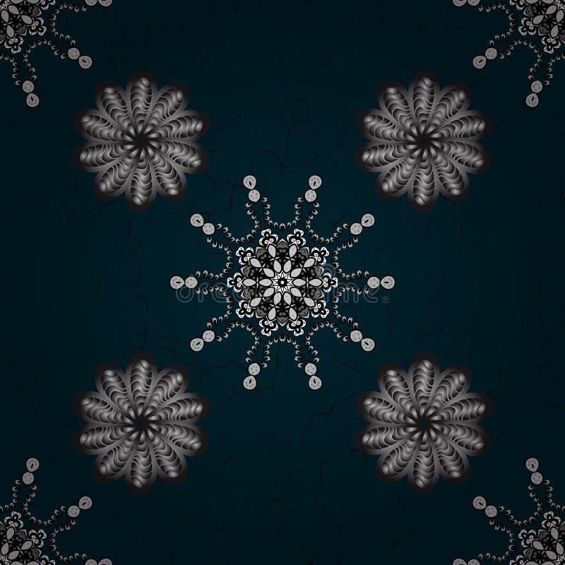 Muster auf blauem und wei?em Hintergrund mit Elementen stock abbildung