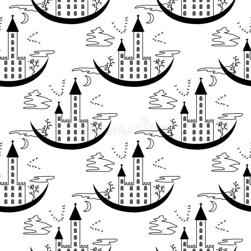 Muster auf einem Thema von Halloween mit dem Verschluss von den Konturen und von den Bäumen vektor abbildung