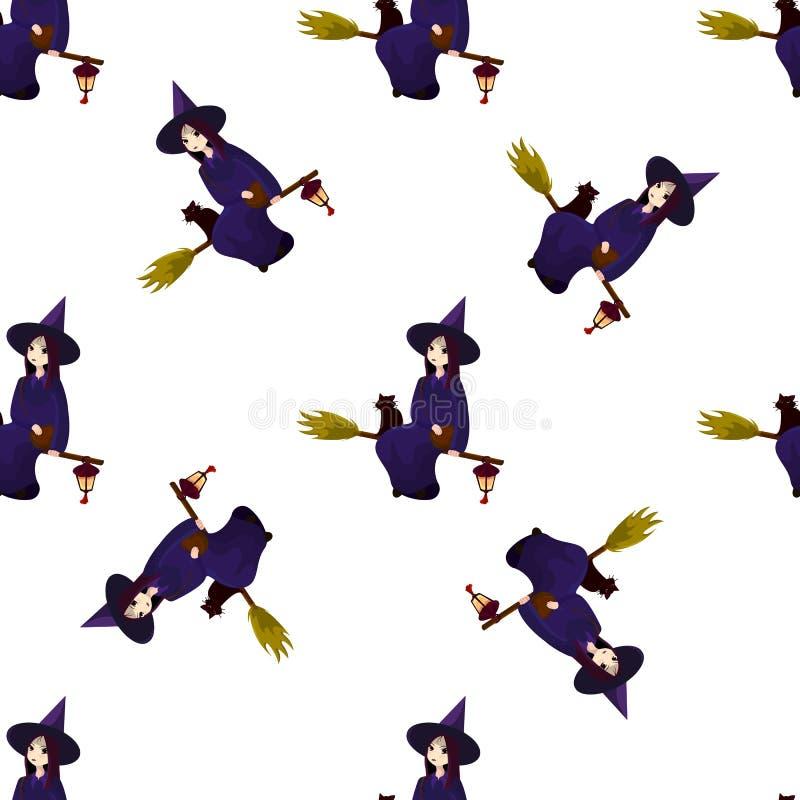 Muster auf einem Thema von einem Halloween mit reizenden Hexen, Magier lizenzfreie abbildung
