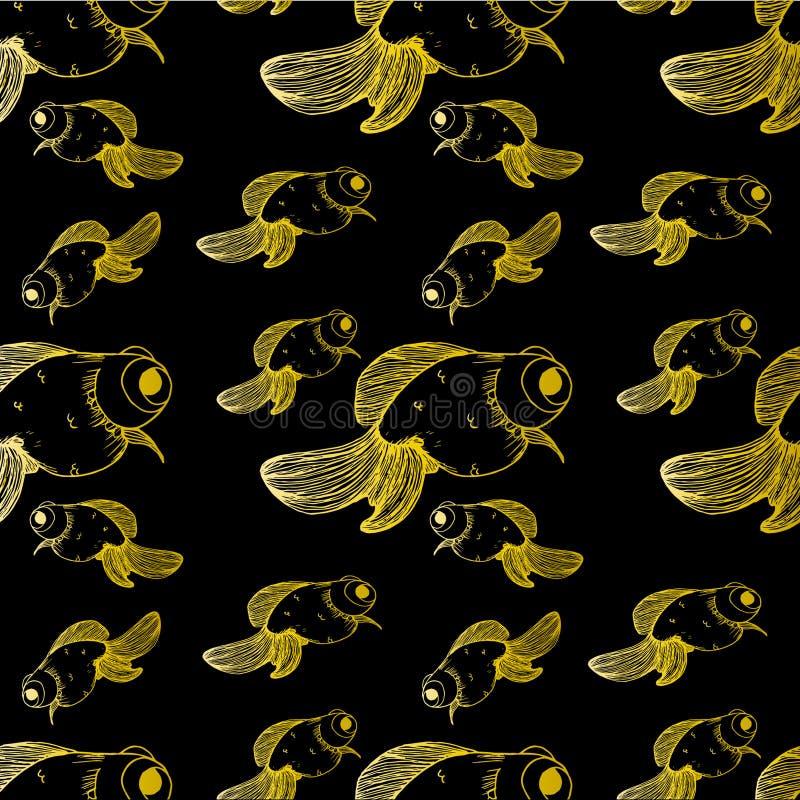 Muster auf schwarzen Hintergrundgoldfisch-Goldlinien verschiedene Größen vektor abbildung