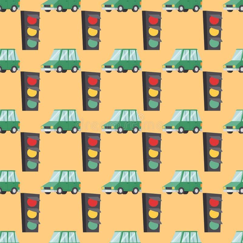 Muster-Autoillustration des flachen grünen Autofahrzeugtypdesignlimousineartvektors generische klassische nahtlose lizenzfreie abbildung