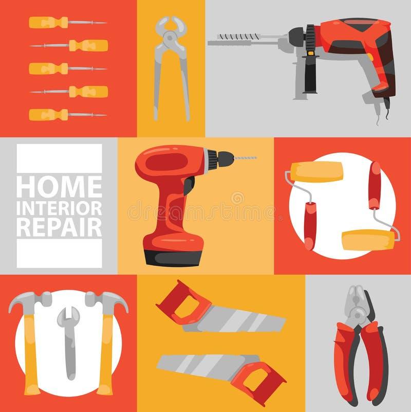 Muster-Bauhandwerkzeuge des Handwerkzeugvektors hämmern nahtlose Zangen und Schraubenzieher der Werkzeugkastenillustrationswerkst vektor abbildung