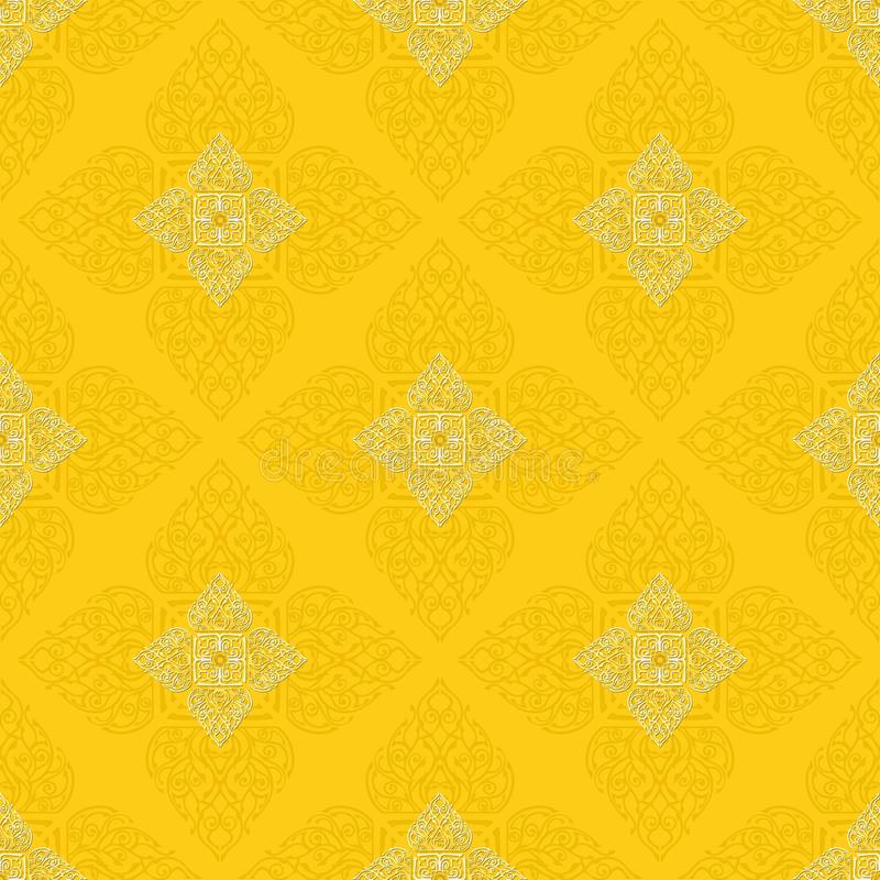 Muster-Beschaffenheitshintergrund ` Lai Thai-` Gelbs königlicher orientalischer nahtloser vektor abbildung