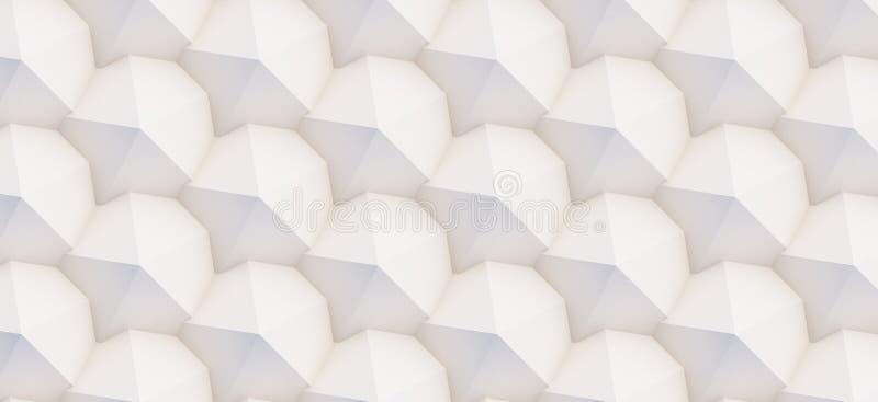 Muster 3D von weißen und beige geometrischen Formen lizenzfreie stockbilder