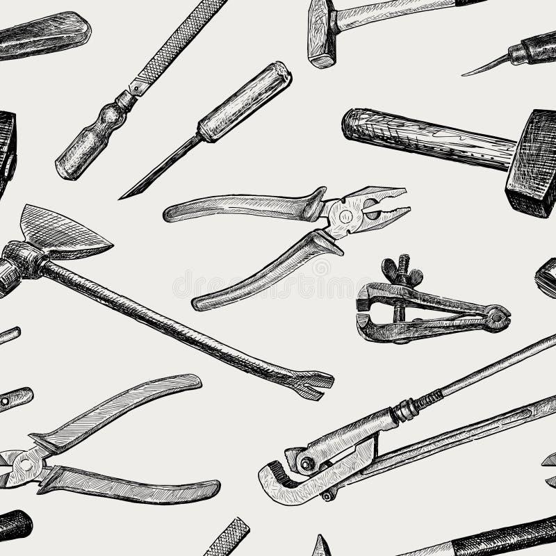 Muster der Arbeitswerkzeuge stock abbildung