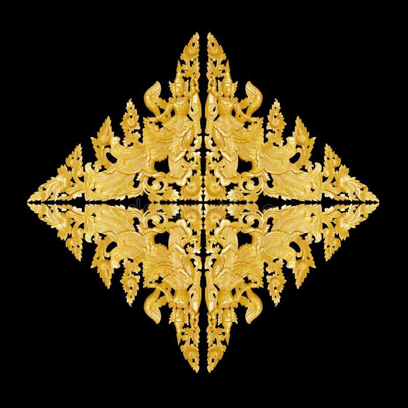 Muster der Blume schnitzte Rahmen auf schwarzem Hintergrund stockbild