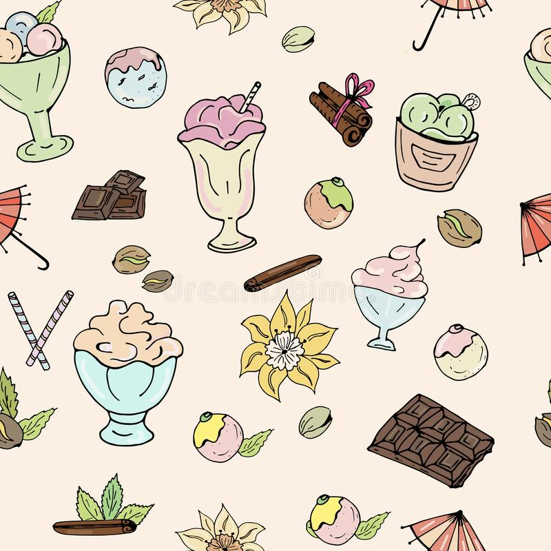 Muster der Eiscreme, der Schokolade, der Nüsse, der Vanille und des Zimts auf einem hellen Hintergrund lizenzfreie abbildung