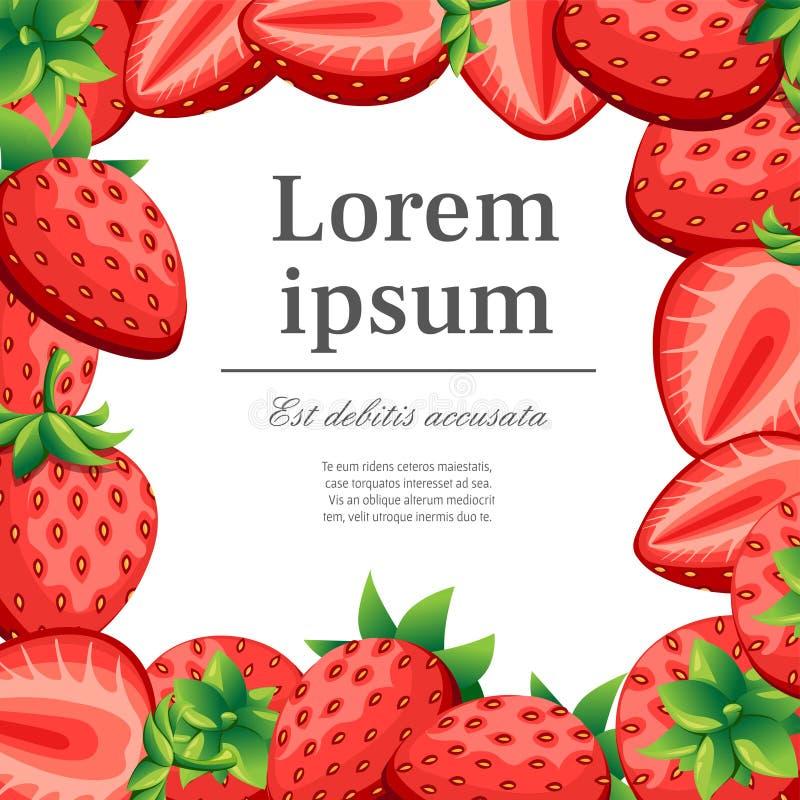 Muster der Erdbeere und Scheiben von strawberrys Vector Illustration mit Platz für Ihren Text für dekoratives Plakat, Emblem natu lizenzfreies stockbild