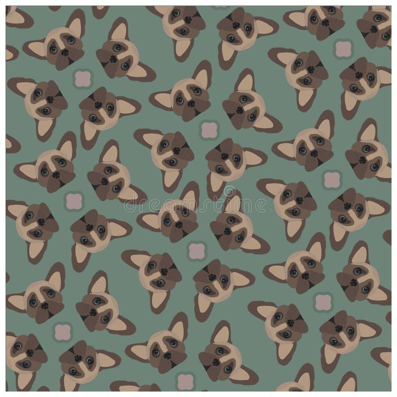 Muster der französischen Bulldogge auf olivgrünem Hintergrund stockfotografie