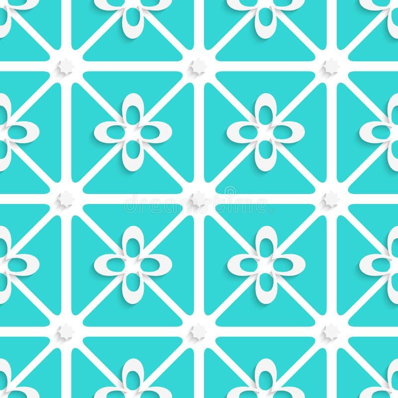 Muster der grünen und weißen Blumen stock abbildung