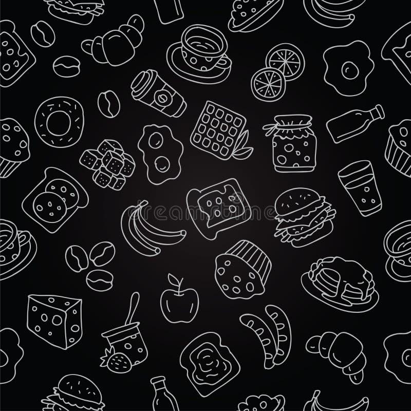 Muster der Ikone zum Frühstück vektor abbildung