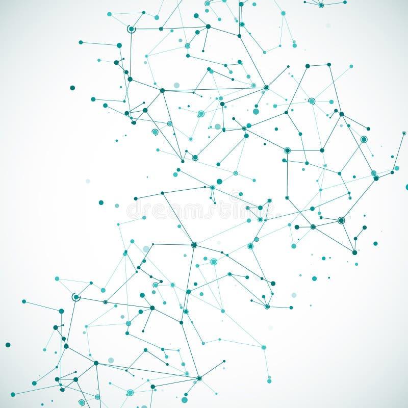 Muster der Kompliziertheitsknotenmolekularen oder Atomstruktur Komplexer Reihenrahmen der polygonalen großen Daten vektor abbildung