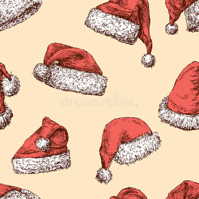 Download Muster Der Santa Claus-Kappen Vektor Abbildung - Illustration von sankt, pompom: 96933064