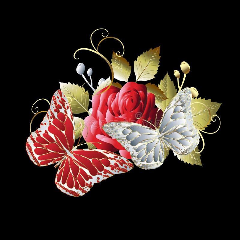 Muster der Schmetterlinge 3d Vektorbunte Abbildung Blumenbac stock abbildung