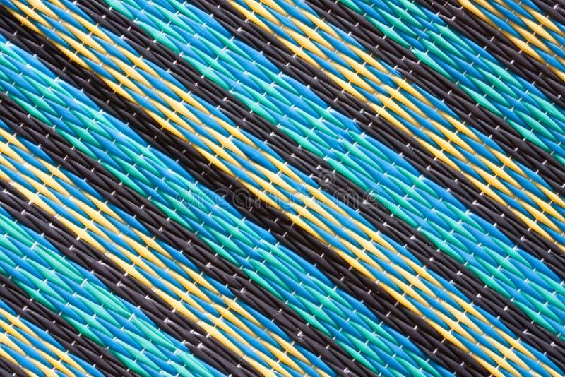 Muster der siamesischen Artmatte gesponnen vom Plastik lizenzfreie stockfotografie