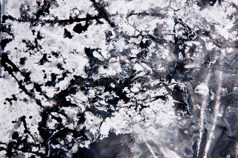 Muster des abstrakten Expressionismus Art der Tropfenfängermalerei Schwärzen Sie lizenzfreie stockfotografie