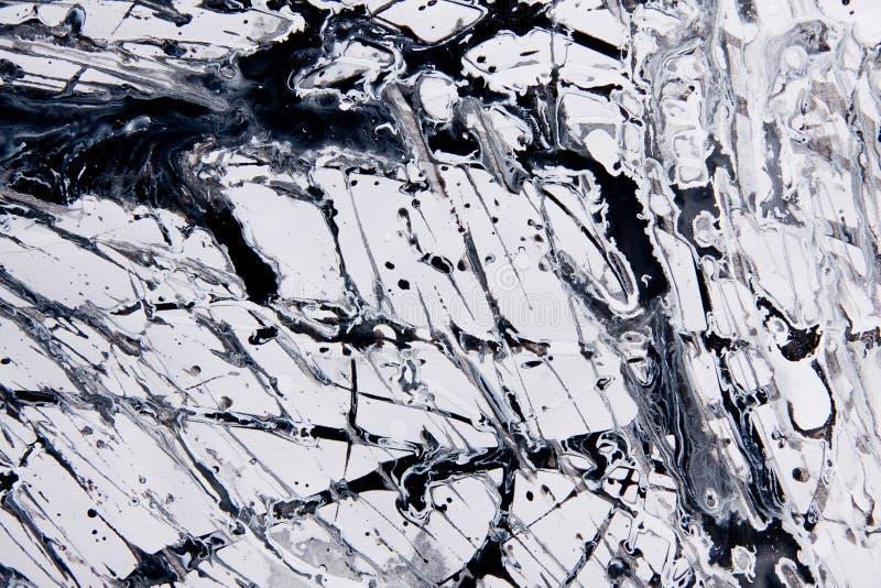 Muster des abstrakten Expressionismus Art der Tropfenfängermalerei Schwärzen Sie stockfotografie