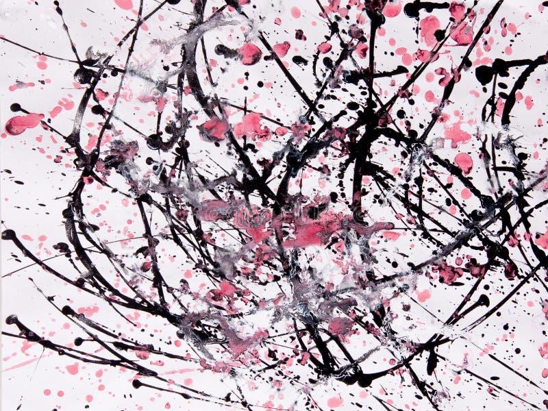 Muster des abstrakten Expressionismus Art der Tropfenfängermalerei Schwarzes, R lizenzfreies stockfoto