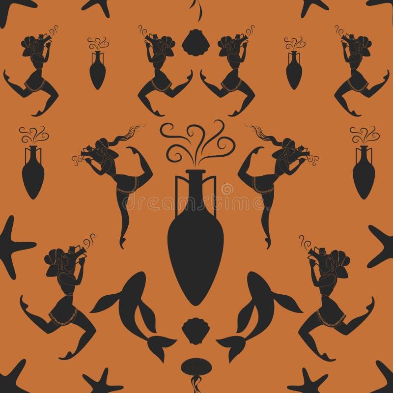 Muster des altgriechischen Mädchens Amphore tragend umgeben durch Mittelmeersymbole stock abbildung