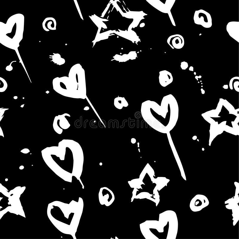 Muster des Handabgehobenen betrages mit Herzen und Stern lizenzfreie stockbilder