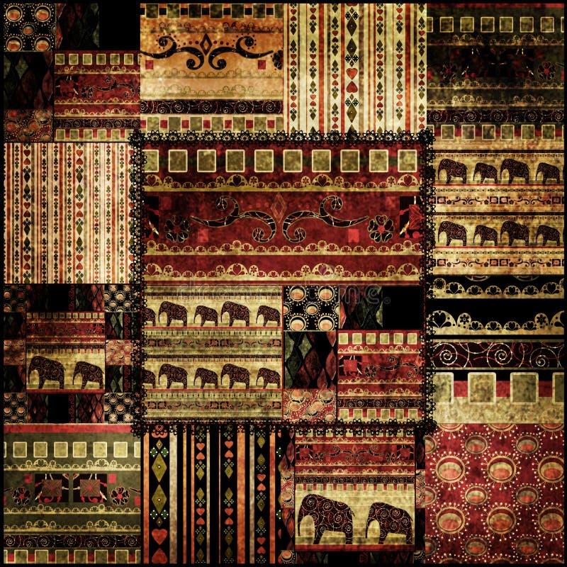 Muster-Druckhintergrund des Patchworks afrikanischer stock abbildung