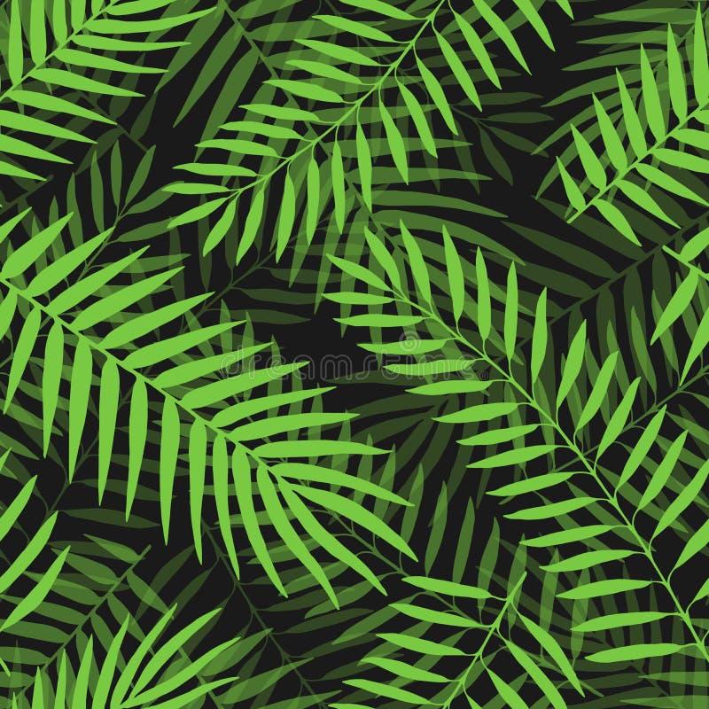 Muster-Dschungels der Palmbl?tter des Vektors dekorativer mit Blumenhintergrund des tropischen nahtlosen lizenzfreie abbildung