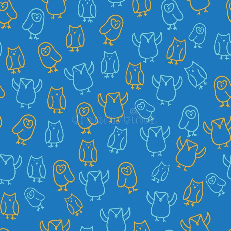 Muster-Entwurfshintergrund der blauen orange netten Eulenillustration nahtloser vektor abbildung