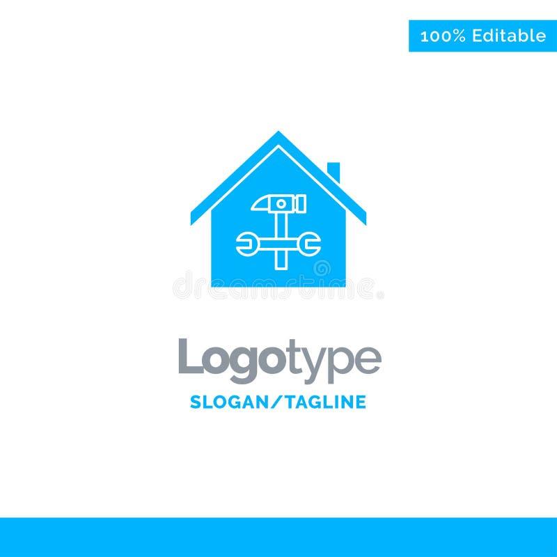 Muster für Heimtiere, Gebäude, Bau, Reparatur, Hammer, WFranzösisch-blaue Solid-Logos Ort für Tagline vektor abbildung