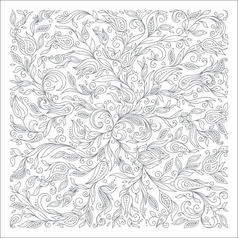 Muster für Malbuch Ethnisch, mit Blumen, Gekritzel, Vektor, desig stock abbildung