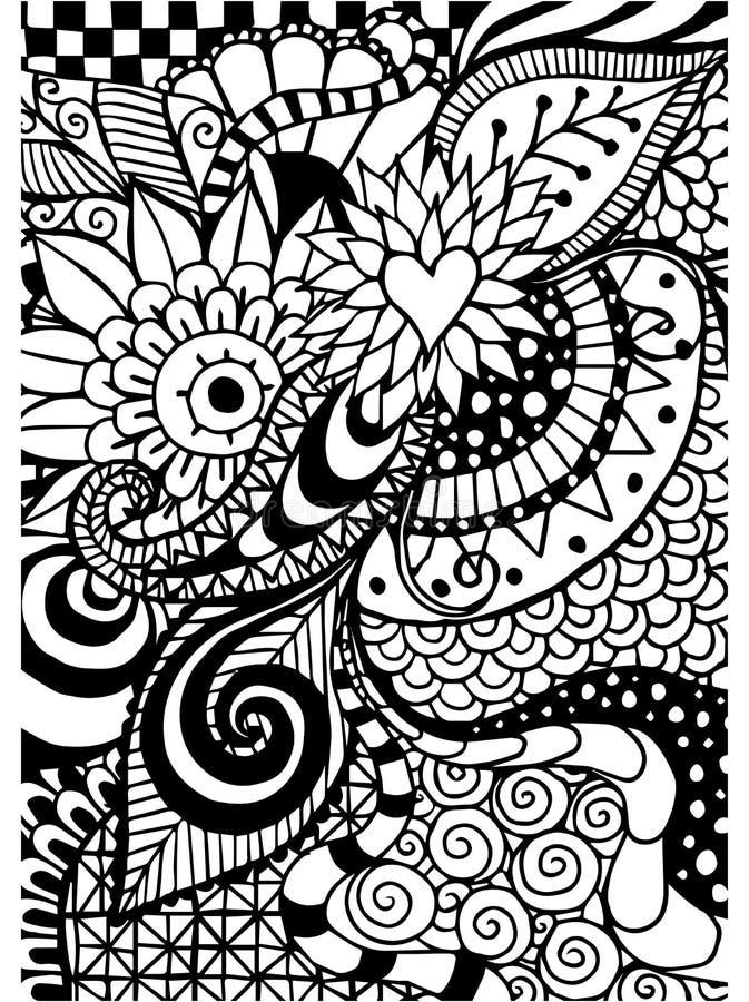 Muster für Malbuch Ethnisch, mit Blumen, Retro-, Gekritzel, Stammes- Gestaltungselement Ogange Blume Fractal stock abbildung