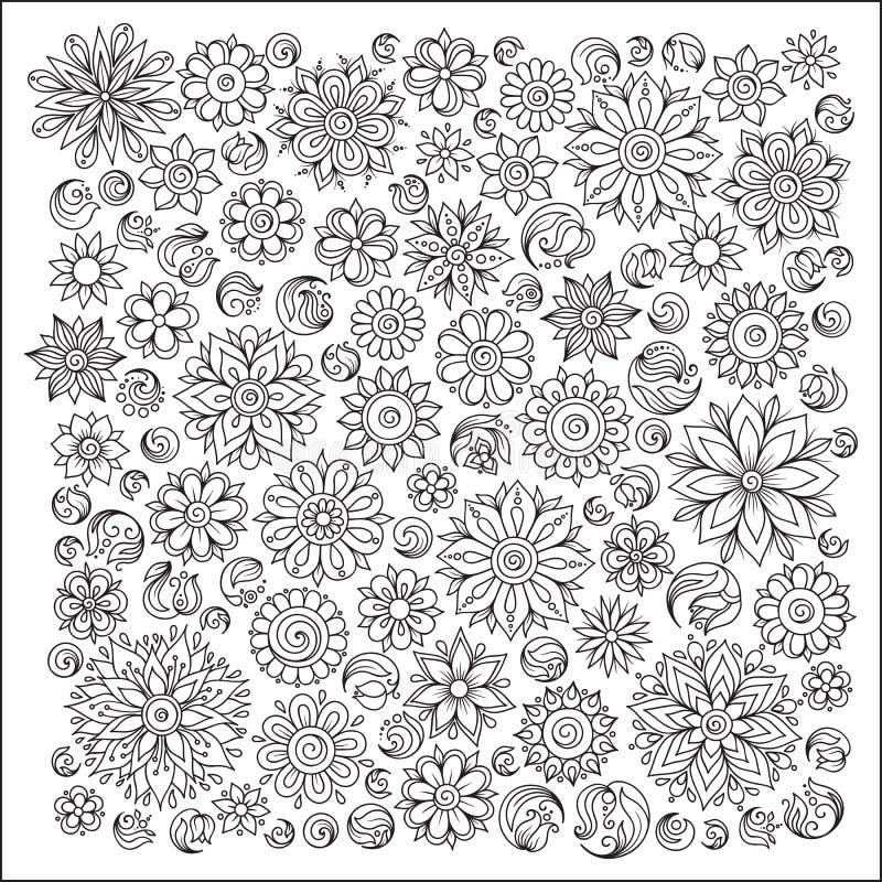 Muster für Malbuch Ethnisch, mit Blumen, Retro-, Gekritzel, Vektor lizenzfreie abbildung