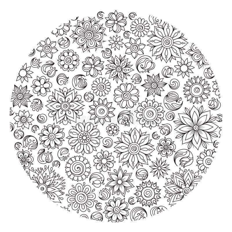Muster für Malbuch Ethnisch, mit Blumen, Retro-, Gekritzel, Vektor vektor abbildung