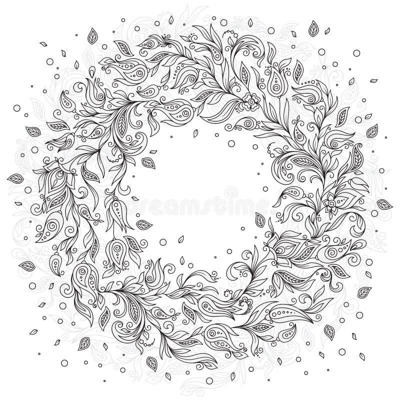 Muster für Malbuch Mit Blumen, Gekritzel, Vektor, Kranz lizenzfreie abbildung