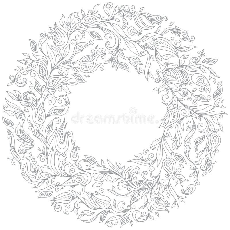 Muster für Malbuch Mit Blumen, Gekritzel, Vektor, Kranz vektor abbildung