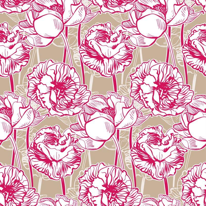 Muster-Gartenpfingstrose der bunten Vektorentwurfsblumenkunstmalereidekorationstapete nahtlose vektor abbildung