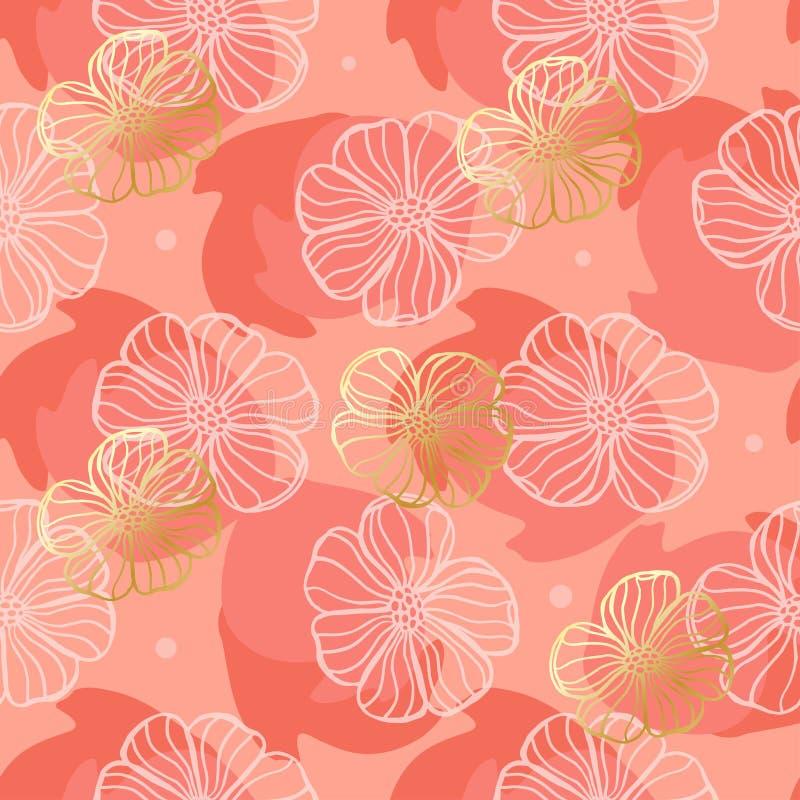 Muster-Gekritzelblumen auf einem korallenroten Hintergrund vektor abbildung