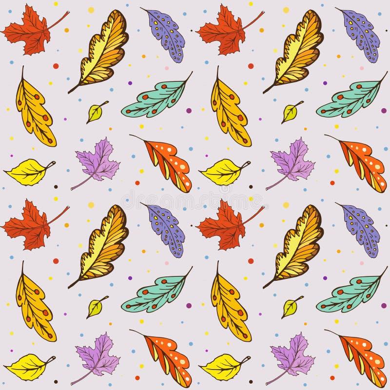 Muster-Gekritzelherbstlaub lizenzfreie abbildung