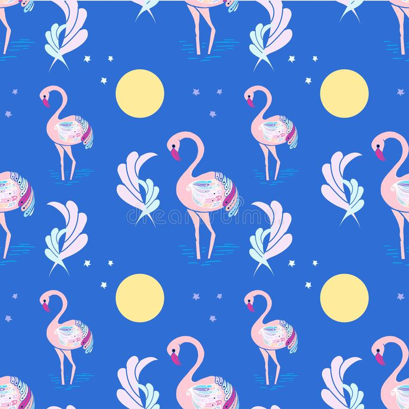Muster-Gekritzelrosa Flamingovögel und -blätter hinter Blau lizenzfreie abbildung