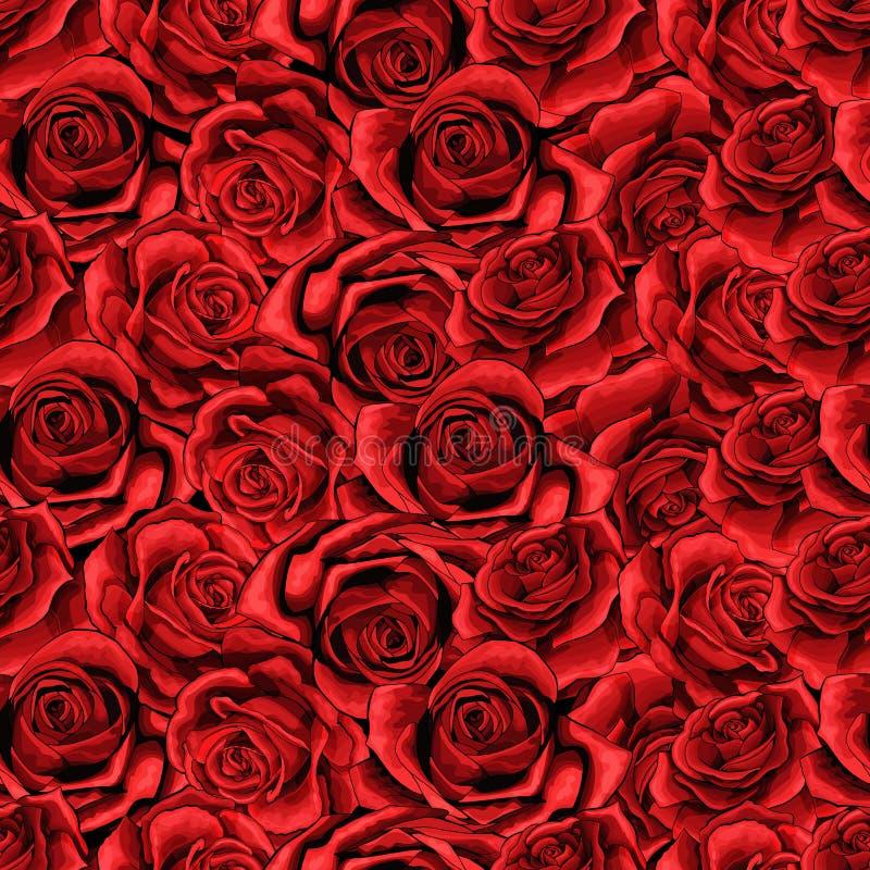 Muster-Hintergrundbeschaffenheit Rosen-Blume nahtlose passend für den Druck des Gewebes stock abbildung