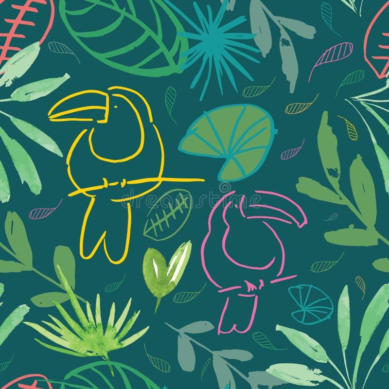 Muster-Hintergrundentwurf des grünen Dschungels tucan nahtloser lizenzfreie abbildung