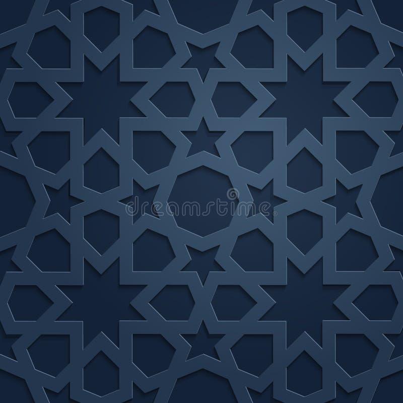 Muster-Hintergrundillustration der blauen Schattenverzierung islamische stockfotografie