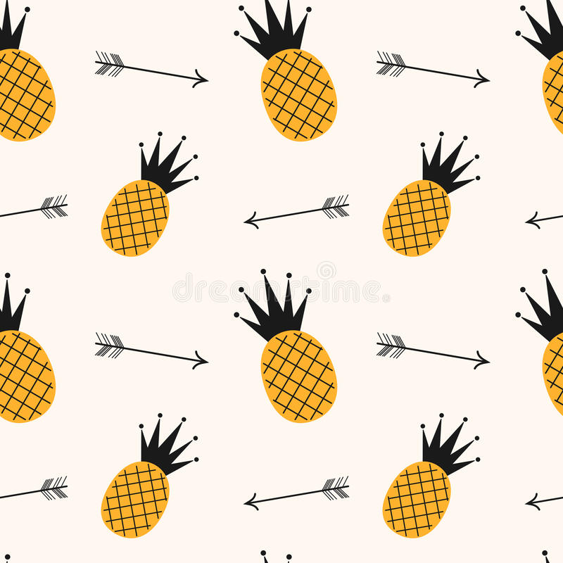 Muster-Hintergrundillustration der gelben schwarzen Ananas nahtlose mit Pfeilen lizenzfreie abbildung