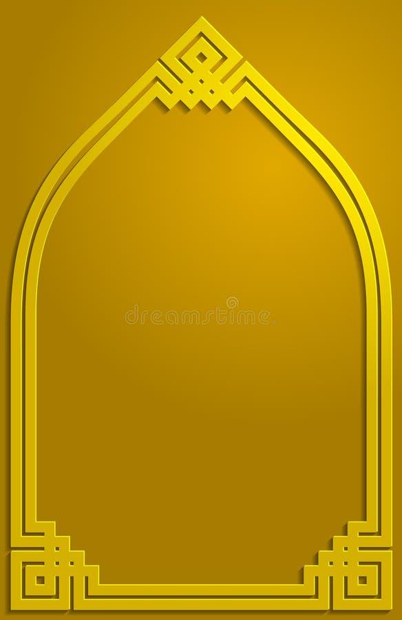 Muster-Hintergrundillustration der Goldschattenverzierung islamische stockfotografie